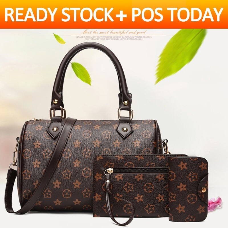 【Ready Stock】 3-piece womens handbag set sling for shoulder tote casual Beg