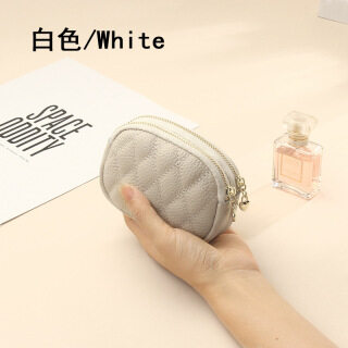 Doulbe Zipper Women Coin Purse, Cow Leather Mini Wallet - Rhomboid Solid Color Short Pouches Key Holder, Storage Bag thumbnail