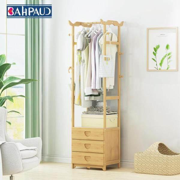Bahpaud Simple Coat Rack 3 Drawer Bamboo Floor Simple Modern Hanging Clothes Rack