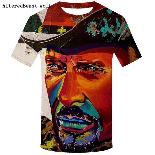 New arrival All Over Print T-Shirt Men fashion t shirt Johnny Hallyday Limited Edition Short Sleeve O-Neck Tops Tee men t shirt