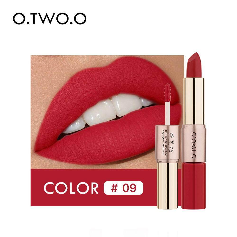 488728c4ed2aa O.TWO.O Lipstick Lipgloss Matte Makeup (2 in 1) 12 Colors #09