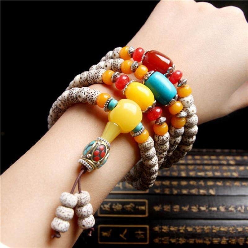[False One Compensate Ten] Natural Star Moon Bodhi Son Hainan 108 Hand String Bracelet Men And Women Necklace Buddha Beads Accessories