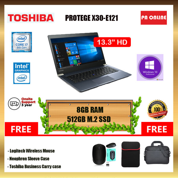 Toshiba Portege X30-E121 - Intel Core i7-8550U /8GB-16GB RAM /512GB SSD /Intel UHD Graphic /Windows 10 Pro /3 Years Onsite Warranty Malaysia