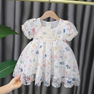 Váy Trẻ Em, Đầm In Ren Bé Gái, Đầm Họa Tiết Bướm Màu Cho Bé Gái, Váy Công Chúa Bé Gái, Váy Ngắn Tay, Váy Thắt Nơ, Váy Bé Gái Thời Trang thumbnail
