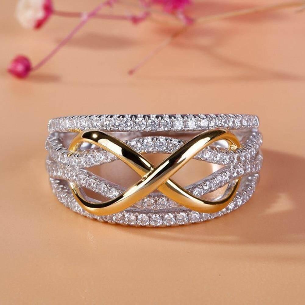 99418e68f6 Gravitational wave 8-Shape Shiny Rhinestones Women Wedding Engagement  Promise Ring Jewelry Gift