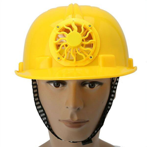 (safe) Abs Working Job Site Construction Protective Cap Hard Hat Proof Safety Helmet With Solar Energy Cooling Fan (yellow)