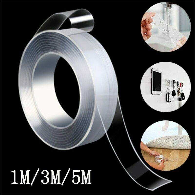 Nano Traceless Washable Adhesive Tape, Reusable Clear Double Sided Anti-Slip Nano Gel Pads, Removable Sticky Strips Grip