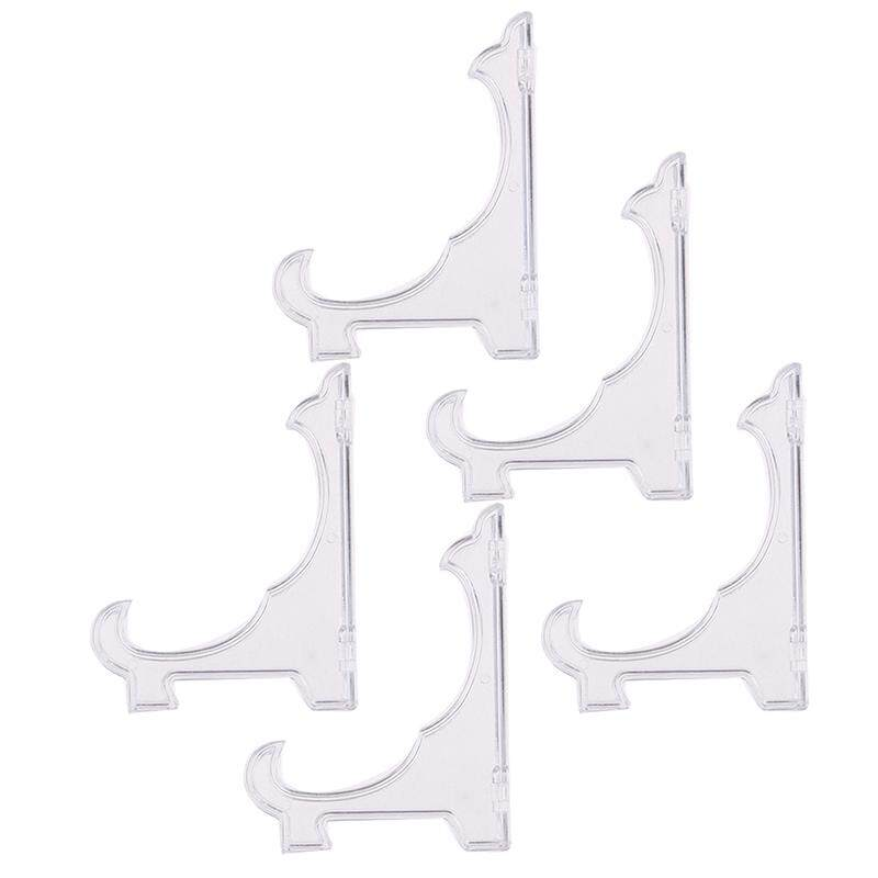 5 Mini Clear Plastic Coin Minerals Plates Card Badge Display Easel Stand Holders
