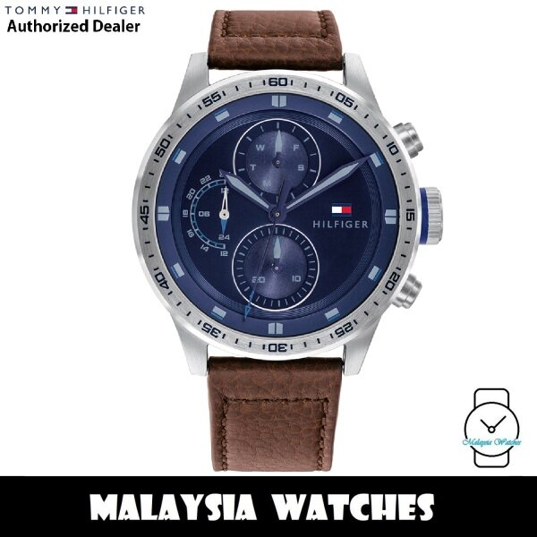 (100% Original) Tommy Hilfiger 1791807 Trent Quartz Blue Dial Stainless Steel Case Brown Leather Strap Mens Watch (2 Years International Warranty) Malaysia