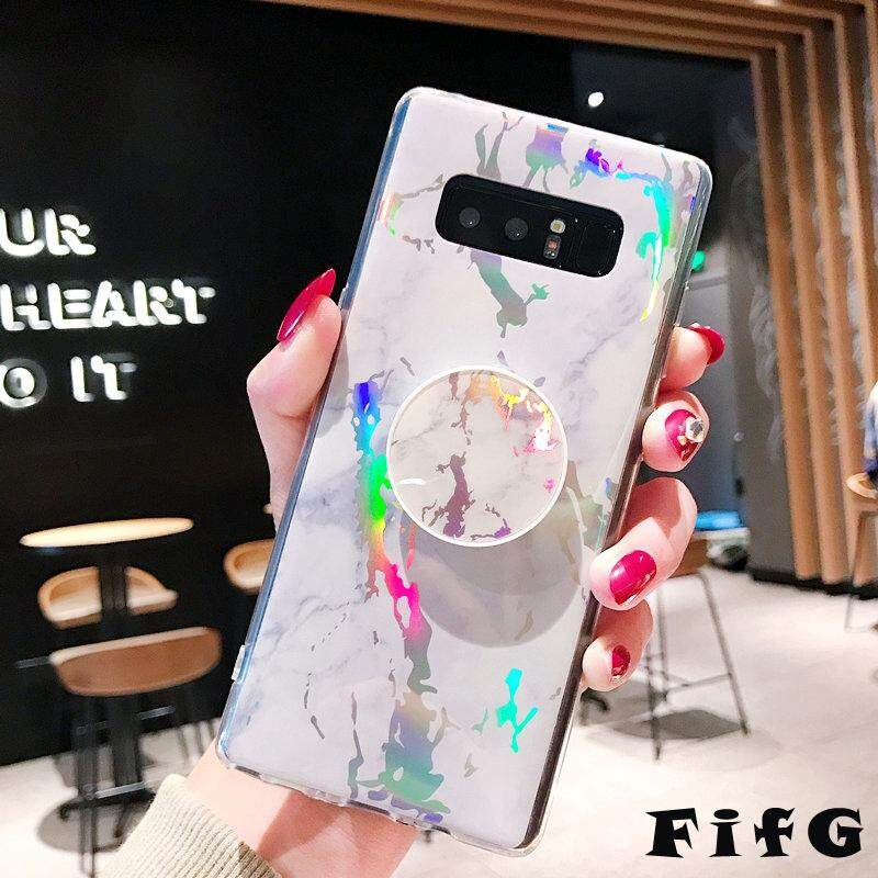 Fifg untuk Samsung GALAXY Catatan 9 Bling Marmer Halus Tpu Telepon Lembut Pemegang Penyangga Sarung Warna-warni Shockproof Cover dengan Pop Socket