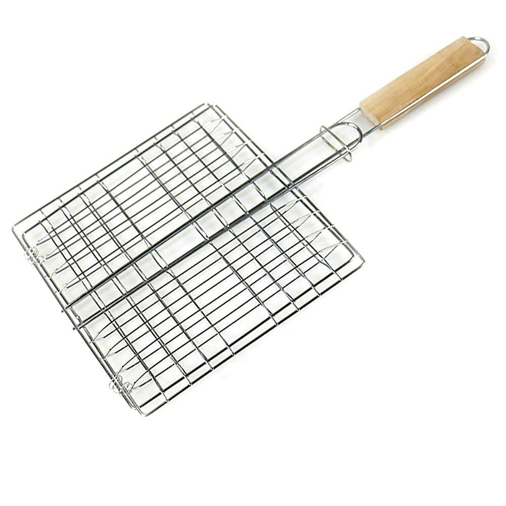 [ Ready Stock ] Tavey 1 Pcs Barbecue Grilling Basket Wire Grid Rack Foldable Basket Roast Outdoor Wooden Handle Garden Barbecue Cooking Tool