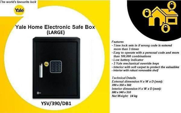 Yale Home Electronic Security Safe Box Value Home Safe YSV/390/DB1