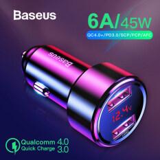 Baseus Sạc Xe Hơi USB 4.0 3.0 Sạc Nhanh 45W Dành Cho Xiaomi Mi Huawei Samsung Supercharge Bộ Sạc Điện Thoại Trên Xe HƠI PD USB C Nhanh Scp QC4.0 QC3.0