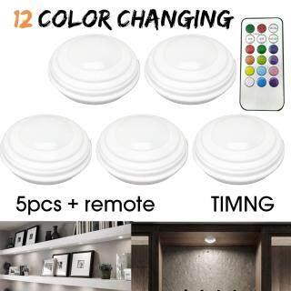 05 đèn Led không dây 12 màu sắc điều khiển từ xa chạy bằng pin phù hợp sử dụng làm đèn ngủ đèn tường - INTL thumbnail