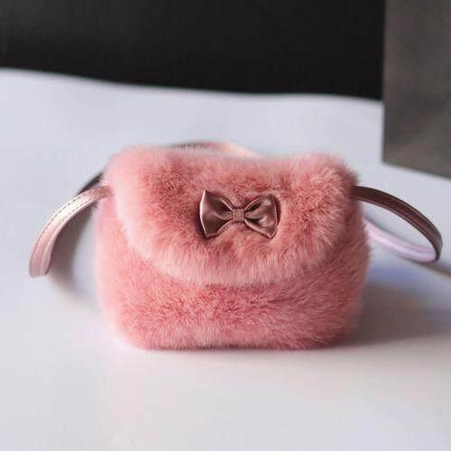 2019 Mode Terkini Tahan Lama Lucu Buatan Bulu Ikatan Simpul Anak Mini Cenderung Dompet Hadiah Besar untuk Anak-anak