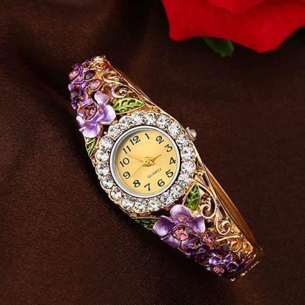 LVPAI Womens Beautiful Flower Band Hollow Bangle Crystal Quartz Bracelet Watch Jewelry Malaysia
