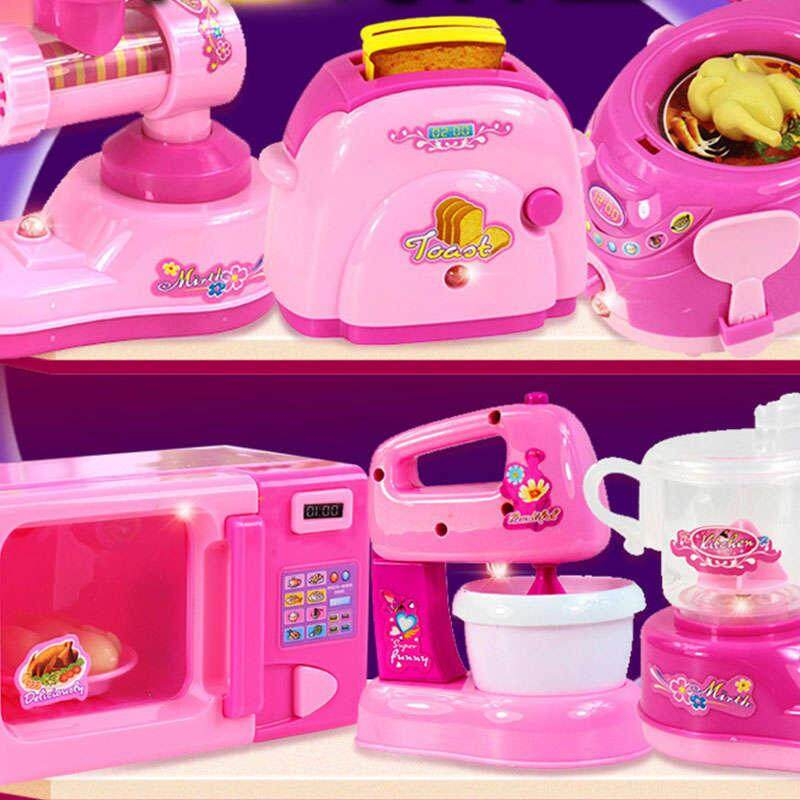 4defd716f369 6 12pcs Kitchen Toys Pretend Play Set Kids Pink Household Appliances Set  Mini Home Educational