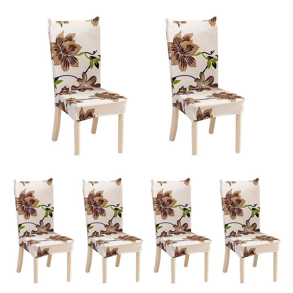 leegoal Removable Washable Dining Room Chair Covers with Printed Pattern Soft Spandex Super Fit Stretch Chair Slipcovers for Hotel,Ceremony,Banquet Wedding Party (6 Per Set)