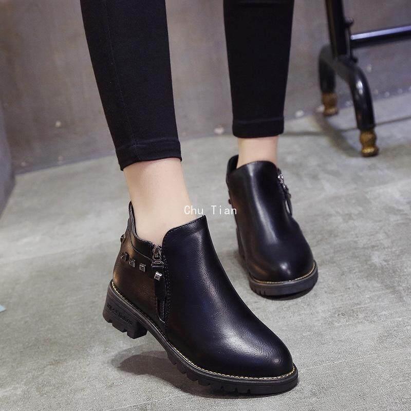 Giá bán Chu Thiện Anh Phong Cách Hoang Dã Giày Boot Cổ Ngắn nam Nữ Plus Nhung Giày Bốt Martin