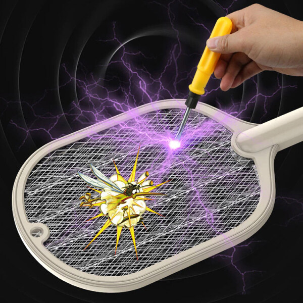 Mosquito Killer Racket Electric Shock Rechargeble Battery with Desktop Stand Auto Trap (White)