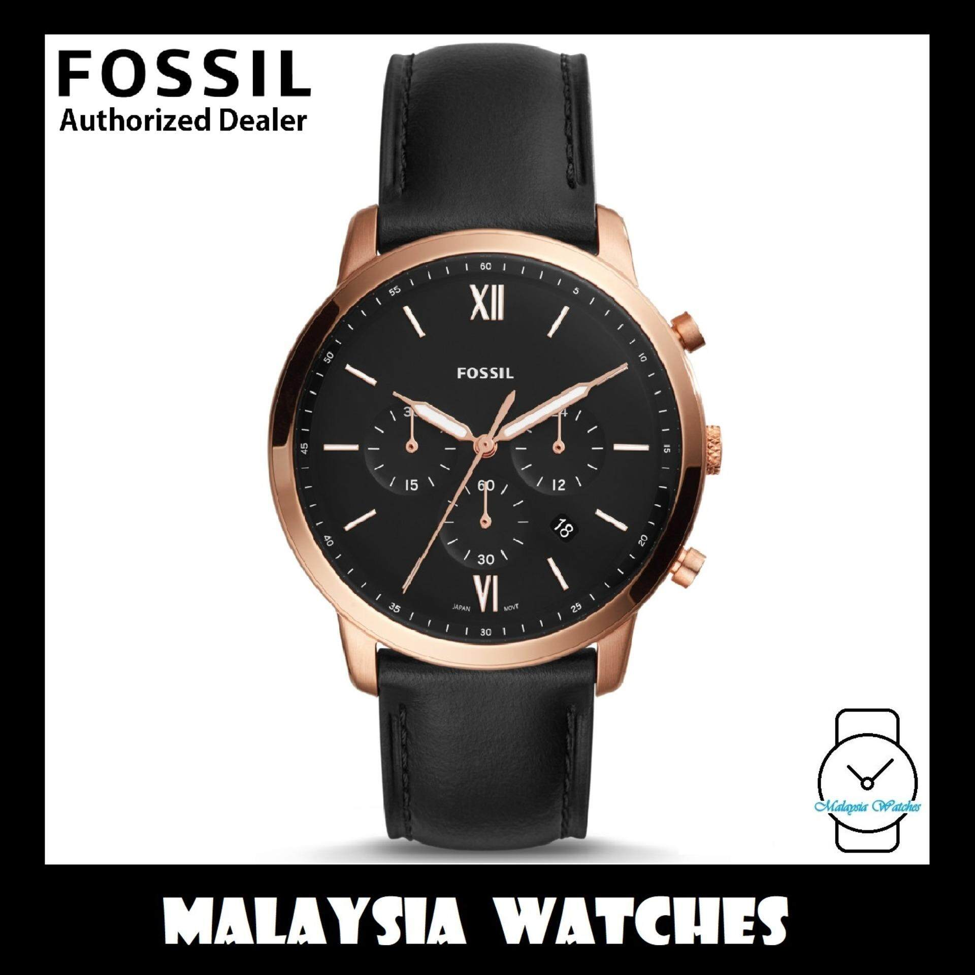 (OFFICIAL WARRANTY) Fossil Mens FS5381 Neutra Chronograph Black Dial Leather Watch (Black) Malaysia