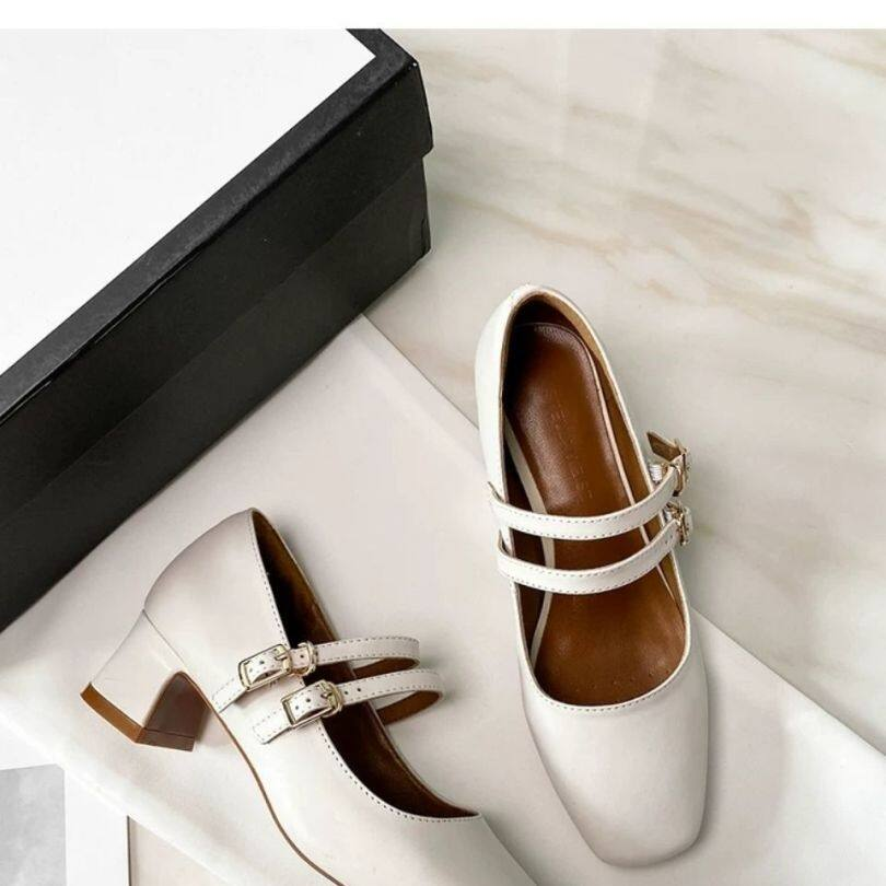 RLB969 Hepburn Mary Jane Giày Nữ Hoài Cổ 2020 Mùa Thu Mới Giữa Gót Miệng Nông Khóa Pháp Gót Dày Duy Nhất Giày Phụ Nữ giá rẻ