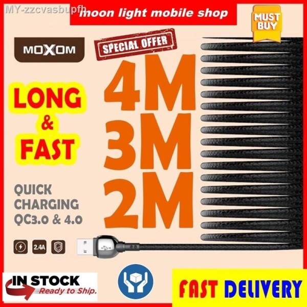MOXOM USB Data Cable 2 Meter   3 Meters   4 Meters   Quick Charge QC3 4.0   Type C   Android Micro   Iphone   Long Fast