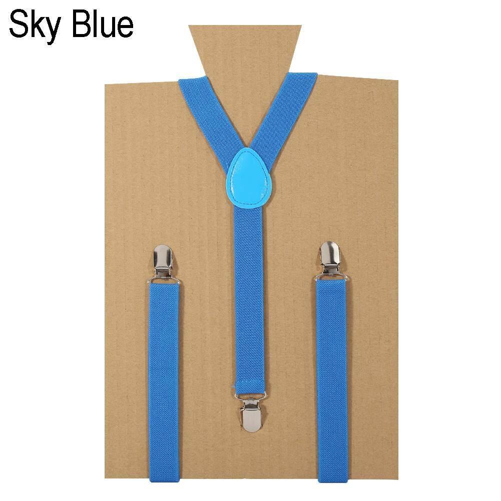 Unisex Elastic Y-Shape Braces Adjustable Clip-on Suspenders Belt Faux Leather WA