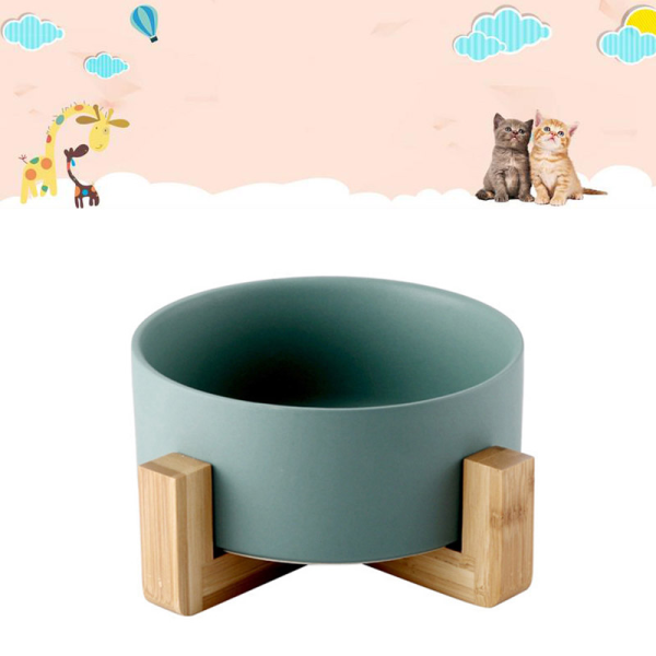 1 Chiếc Máy Cấp Nước Thức Ăn Bằng Gốm Cho Thú Cưng Không Tràn, Bát Với Gỗ Đứng Cho Cột Sống Chó Mèo Bảo Vệ