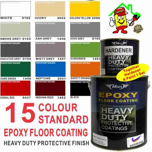 5L EPOXY PAINT STANDARD COLOUR HEAVY DUTY COATING FINISHES FOR FLOOR / TILES / CEMENT / ROOF / WALL / STEEL