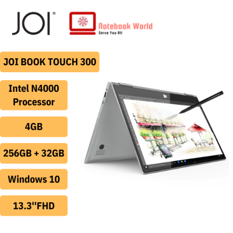 JOI Book Touch 300 /13.3 FHD Touch Laptop Silver (Celeron N4000, 4GB, 32GB+256GB, Intel, W10) Malaysia
