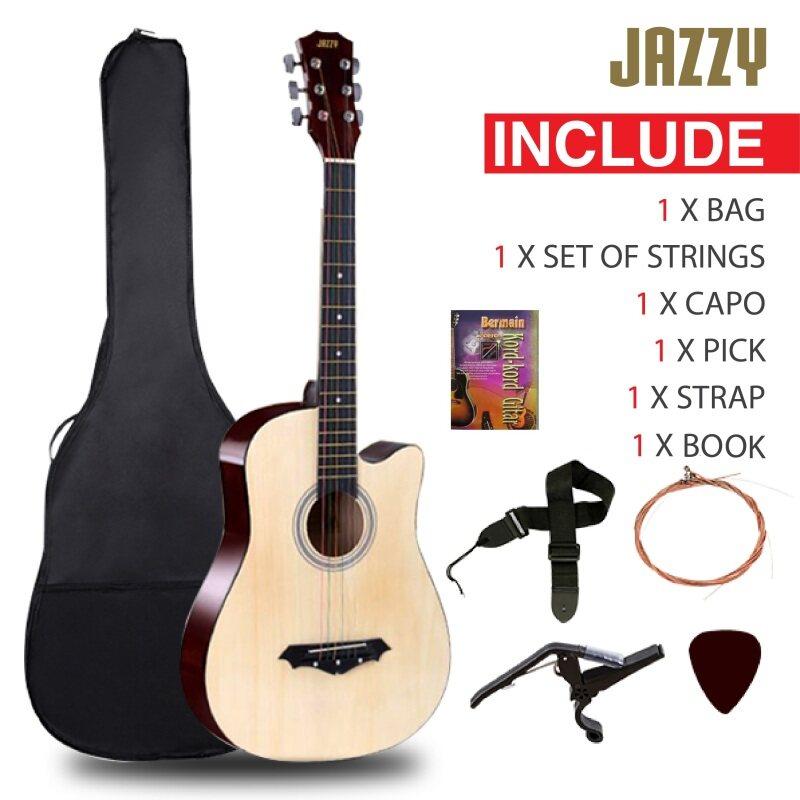 JAZZY 38 Inch Acoustic Guitar Natural Cutaway Basic Guitar Malaysia