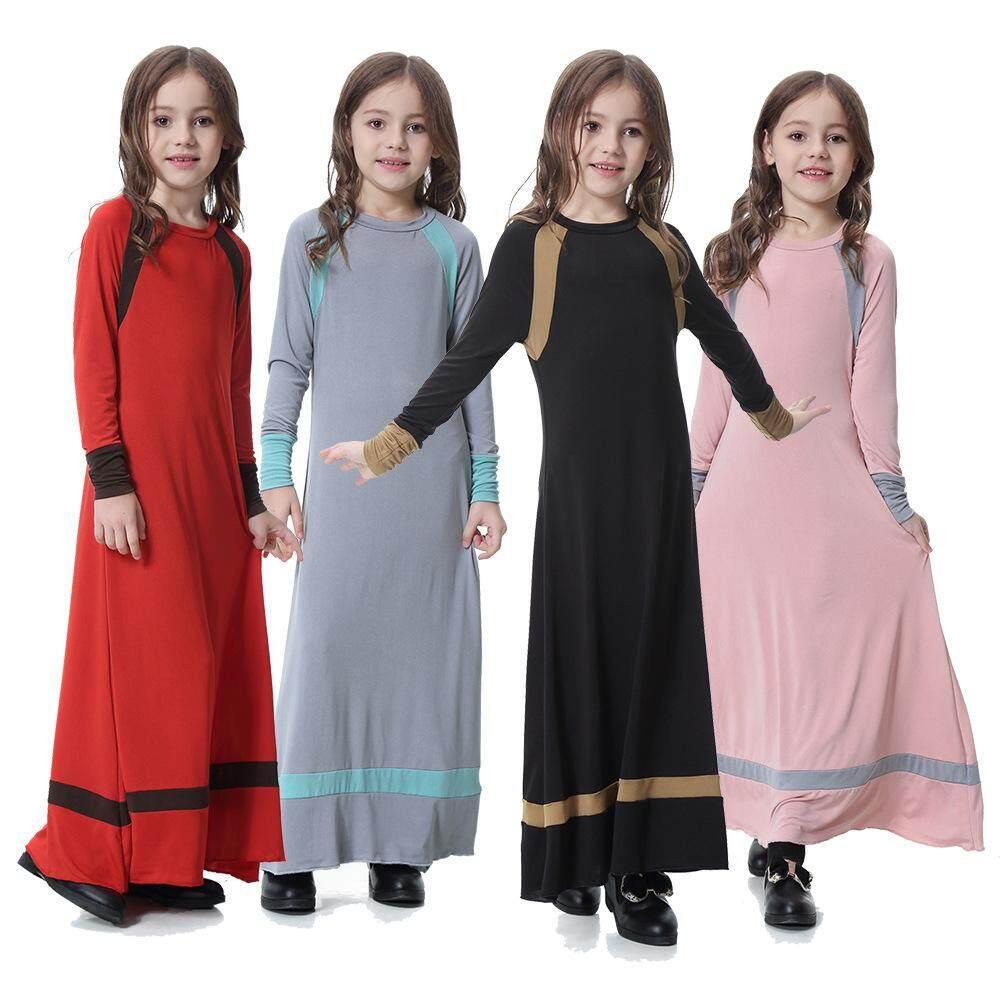 65ed61bb52 High Quality New Fashion Stylish Children Girls Muslim Dress Ramadan Turkey Dress  Muslim Wear for Girl