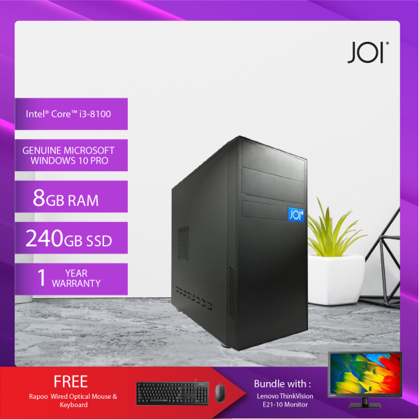 JOI PC 1080 (i3-8100/8G/240GB SSD/W10P)+Lenovo 20.7 Monitor+ Free Combo Wired Keyboard+Mouse Malaysia