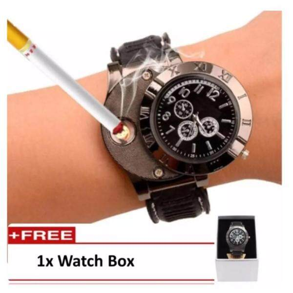 FREEMARKET Mens  Electronic Lighter Rechargeable Watch Fashion Chronograph Watch With Flameless  Lighter (Black) Malaysia