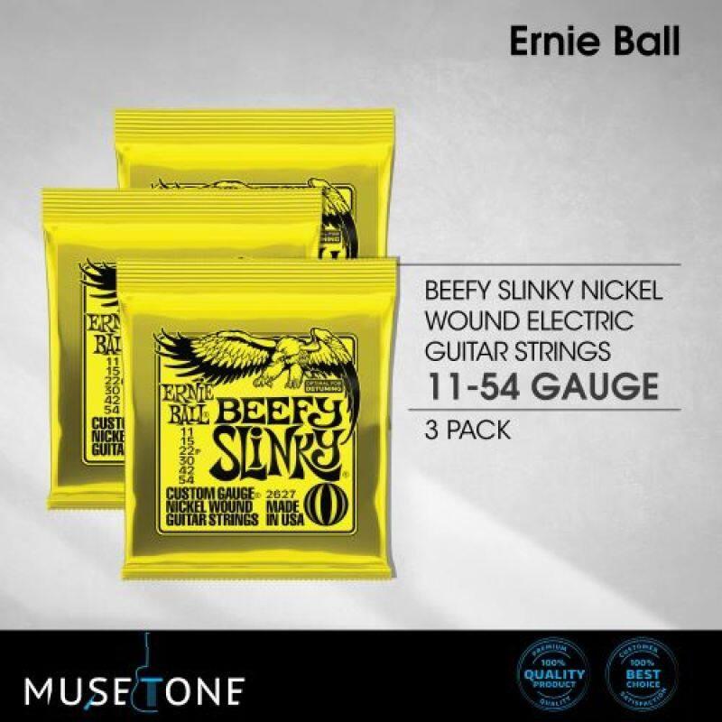 Ernie Ball 2627 Nickel Wound Electric Guitar Strings 11-54 Beefy Slinky (3 Sets) Malaysia
