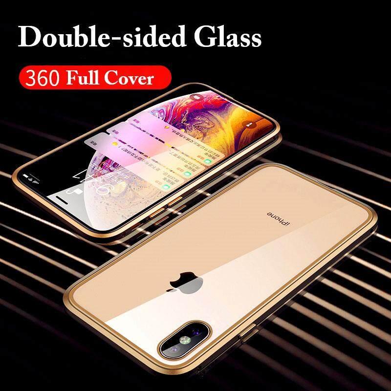 Image 3 for สำหรับ iPhone X/XS MAX 360 Magnetico กระจกนิรภัยเทมเปอร์โปร่งแสงกรอบกันกระแทกบัมเปอร์โลหะ
