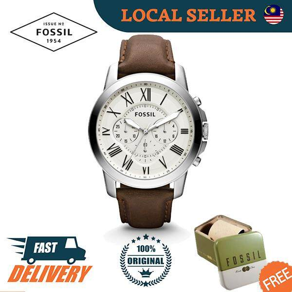 [Authentic] Fossil Grant Chronograph Brown Leather Dial Men Watch Jam Tangan Lelaki FS4735 Malaysia