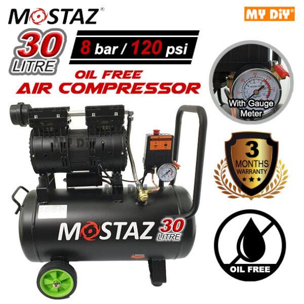 MYDIYHOMEDEPOT - MOSTAZ Professional Oil Free Air Compressor 30L 750w 8 Bar Silent Model (3 Months Warranty)