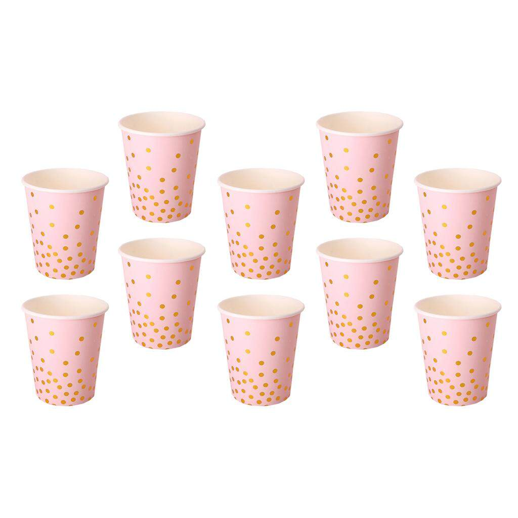 TOOYFUL 10 Pieces Gold Dots Paper Disposable Cups Birthday Wedding Party Bouquet Tableware