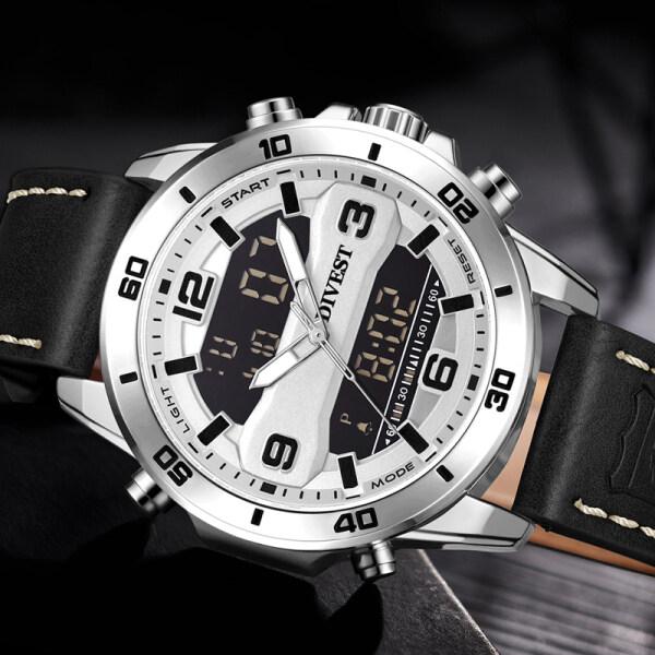 DIVEST Mens Watches Top Brand Luxury Men Sport Quartz LED Digital Watch Men Leather Military Waterproof Watch Malaysia