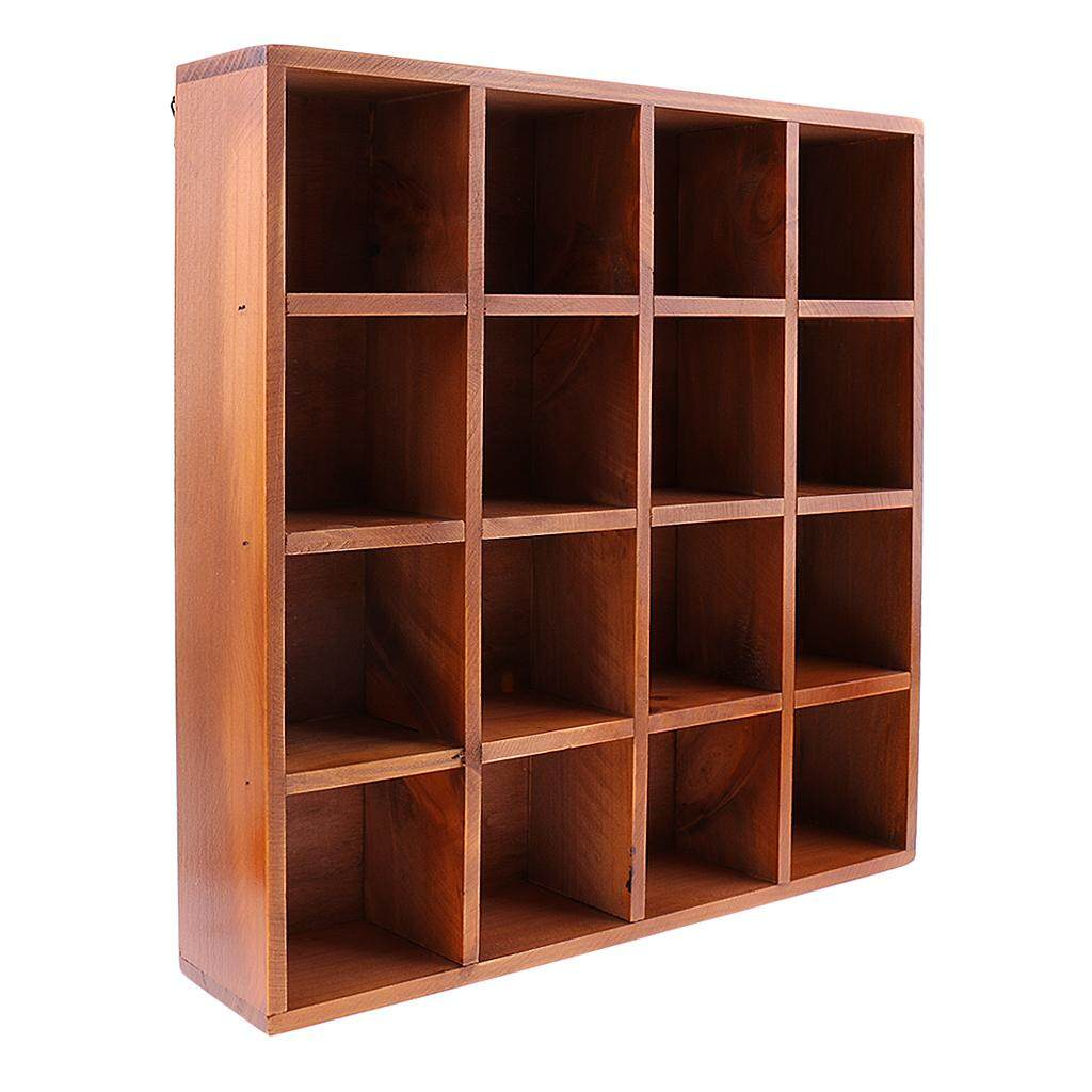 Perfk : Wooden Wall Shelf 16 Cubes Storage Cabinet Wall Mount Space Save for Books CDS Toys Ornament Miniatures Books Photos Holder
