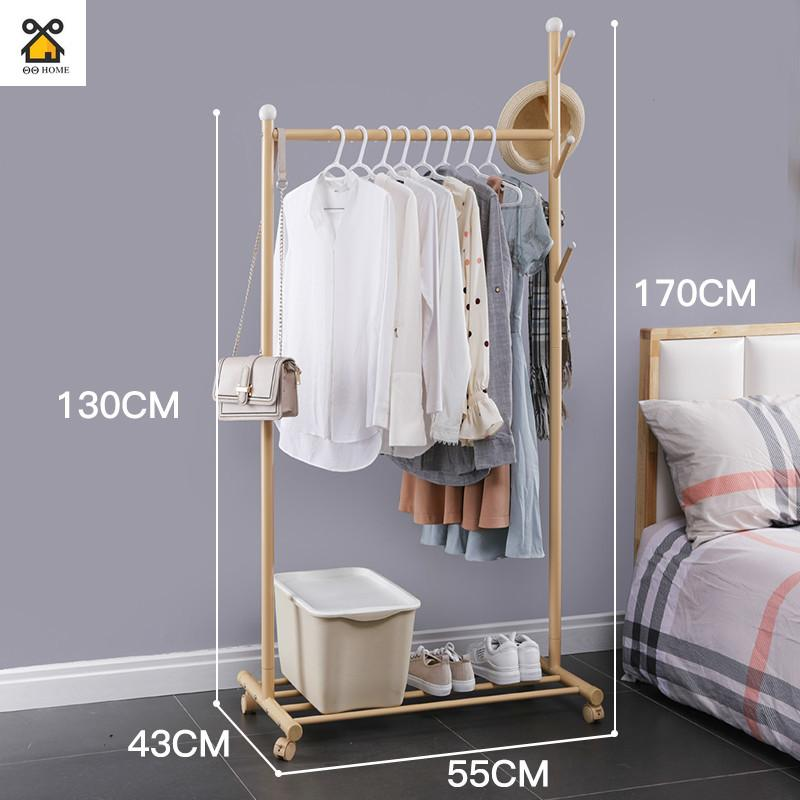 Simple Drying Rack Floor Single Pole Coat Rack Folding Household Clothes Rod Bedroom Clothes Rack Indoor Hanger