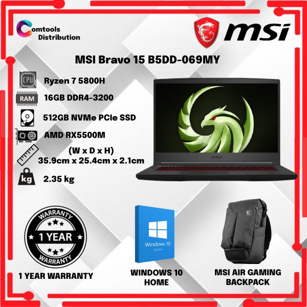 MSI Bravo 15 B5DD-069MY Gaming Laptop Black(AMD Ryzen 7/512GB SSD/16GB/AMD RX5500M-4GB/15.6-Inch FHD/W10) Malaysia