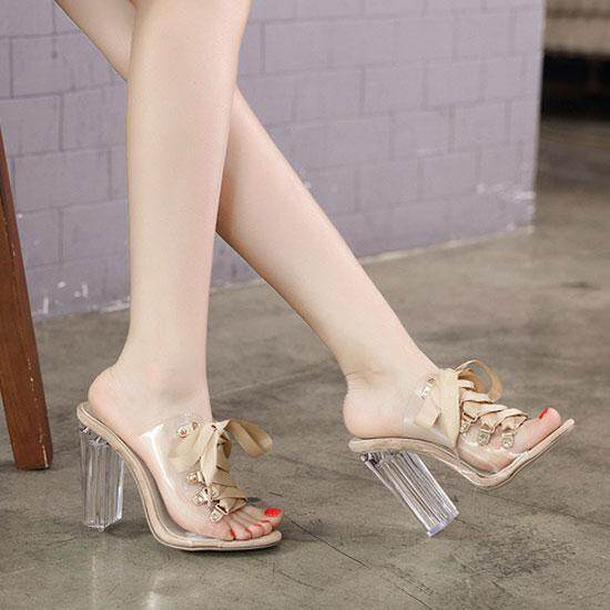 dcb55658d03 Fashion 10cm(3.94 in) High Heels Sandals for Women Transparent Block Heel  Mules Pumps