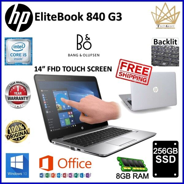 HP EliteBook 840 G3- FULL HD TOUCH SCREEN, CORE i5 6300U / 8GB DDR4 RAM  / 256GB SSD / 14 inch FULL HD TOUCH SCREEN / WINDOWS 10  PRO / REFURBISHED NOTEBOOK /1 YEAR WARRANTY Malaysia