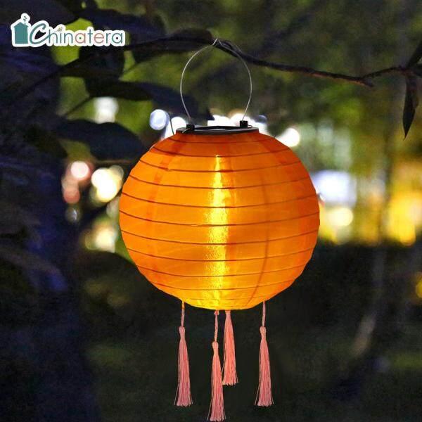 Đèn chùm LED chinatera 10inch, Đèn treo trang trí cảnh quan, sân vườn, đèn treo bằng năng lượng mặt trời, màu trơn, chống nước, phong cách Trung Quốc, dùng trang trí nhà cửa