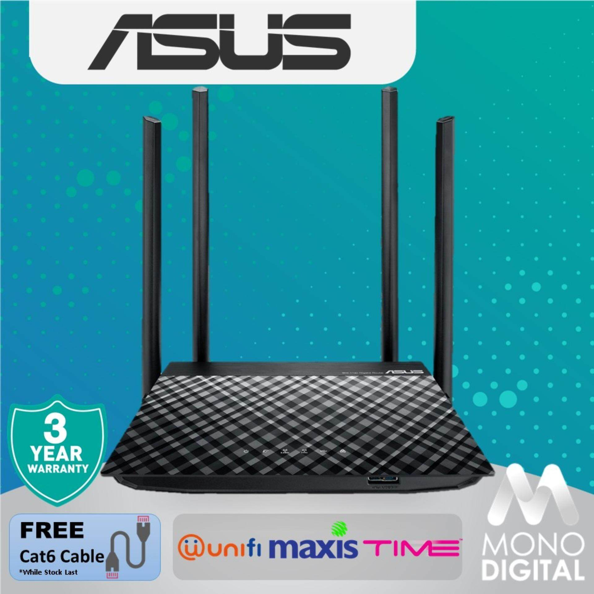 ASUS RT-AC1300UHP Wireless Dual Band Gigabit Router RT AC1300UHP WiFi  Router AC1300 For UNIFI/MAXIS/TIME Wireless Router (Free Cat6 Cable)