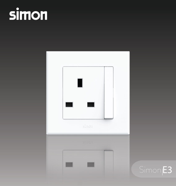 Simon E3 Series 13A Switched Socket Outlet ( Big Rocker ) - White Color