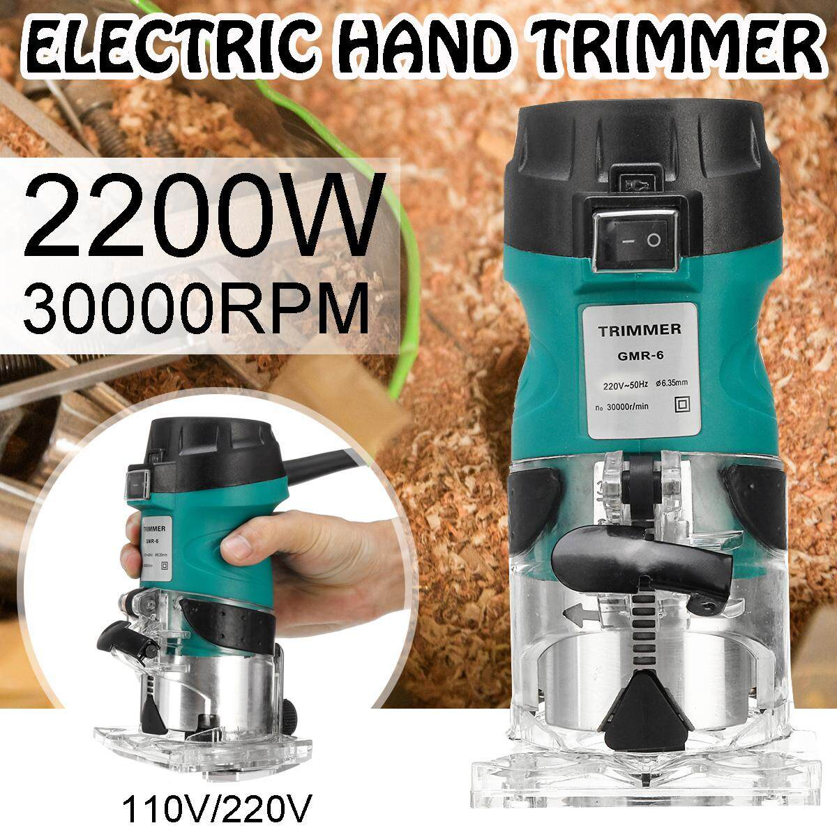 【Flash Deal + Free Shipping 2200w 1/4 Corded Hand Electric Trimmer Wood Laminator Router Joiners Tools 220V